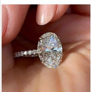 NEW 925 engagement wedding oval silver  ring